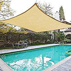 18×18′ Square Sun Shade Sail Patio Deck Beach Garden Outdoor Canopy Cover Uv Blocking (Desert Sand)
