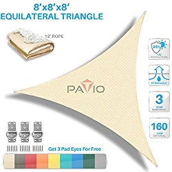 Patio Paradise 8′ x8'x 8′ Beige Sun Shade Sail Triangle Canopy – Permeable UV Block Fabric Durable Outdoor – Customized Available