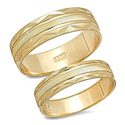 14K Solid Yellow Gold His & Her's Matching Laser Cut Design Wedding Band Ring Set (Choose a Size)