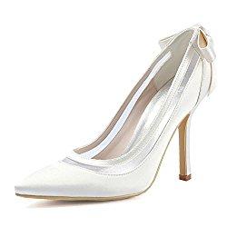 ElegantPark Women High Heel Pumps Pointed Toe Bowknots Satin Bridal Wedding Shoes