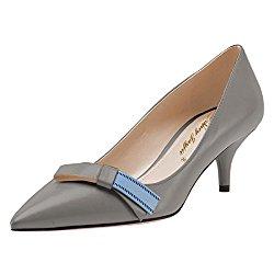 NJPU Women Formal Pointed Toe Kitten Pumps Low Heels Slip on Office Shoes with Bowknot