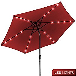 Sorbus LED Outdoor Umbrella, 10 ft Patio Umbrella LED Solar Power, with Tilt Adjustment and Crank Lift System, Perfect for Backyard, Patio, Deck, Poolside, and more (Solar LED – Red)