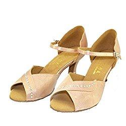 WYMNAME Womens Latin Dance Shoes,Middle Heels Soft Bottom Social Dancing Shoes International Standard Ballroom Dancing Shoes
