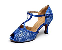 WYMNAME Womens Latin Dance Shoes,Soft Bottom Social Dancing Shoes Middle Heels Sandal