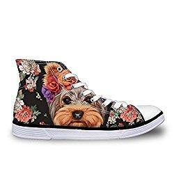 Dellukee Women Fashionable Sneaker High Top Lightweight Walking Shoe Flower Dog Print Size 8