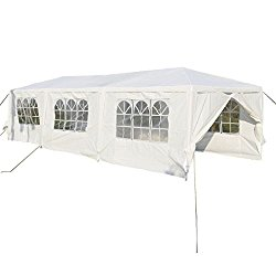 TANGKULA 10'x30′ Outdoor Canopy Tent Heavy Duty Steel Frame with 6 Removable Sidewalls Waterproof Sun Snow Rain Shelter Canopy BBQ Party Wedding Event Tent Outdoor Gazebo, White
