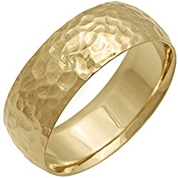14K Gold Center Stripe Men's Hammered Finish Comfort Fit Wedding Band (8mm)