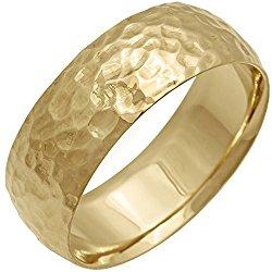 14K Gold Center Stripe Men's Hammered Finish Comfort Fit Wedding Band (8mm)