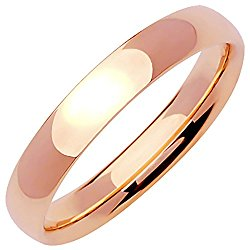 14K Rose Gold Traditional Classic Men's Comfort Fit Wedding Band (4mm)