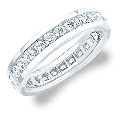 2.0 CT Men's Eternity Ring in 18K White Gold, Mens Diamond Wedding or Anniversary Ring (F-G/ VS)