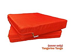6 Pack Outdoor Patio Chair Washable Cushion Pillow Seat Covers 20″ X 18″ – Replacement Covers Only, X6 Tangerine Tango