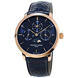 Frederique Constant Men's Slimline Perpetual 42mm Blue Alligator Leather Band Automatic Watch FC-775N4S4