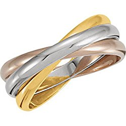 IceCarats Designer Jewelry 14K Yellow/White/Rose Gold Tri Color 3-Band Rolling Wedding Band Ring Size 6