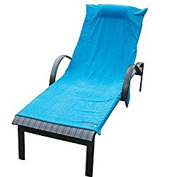 Chillax Beach Chair Towels Terry Cloth Covers Lounge Cruise Wear – Towel Cover with Pockets and Pillow – Plush Style Quality with Luxury Hotel-style Accessories