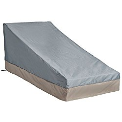 VonHaus Chaise Lounge Cover – 'The Storm Collection' Premium Heavy Duty Waterproof Outdoor Patio Furniture Protection – Slate Gray with Beige Trim – L80 x W36 x H13-33 inches