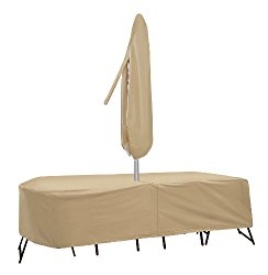 Protective Covers Weatherproof Patio Table and Chair Set Cover, 80 Inch x 96, Inch Oval/RectangleTable, Tan