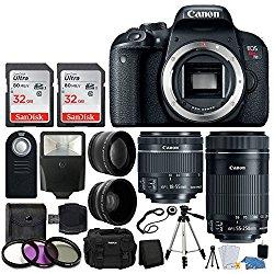 Canon EOS Rebel T7i Digital SLR Camera + EF-S 18-55mm IS STM Lens + EF-S 55-250mm IS STM Lens + Wide Angle Lens & 2x Telephoto Lens + 64GB Memory Card + Quality Tripod – Complete Accessory Bundle