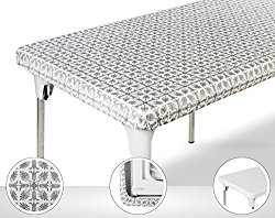 TopTableCloth Table Cover Silver Patterned Elastic on the corner for folding table 6ft (30″ x 72″) Waterproof Elastic Edge Fitted Stay put Table Cloth for Travel, Christmas, Picnics, Parties & Outdoor