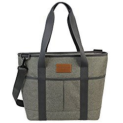 16L Large Insulated Bag   25CAN Waterproof Cooler Carrier Bag  Thermal Picnic Tote   Lunch Bags for Outdoor Camping,Beach Day or Travel   Collapsible Grocery Shopping Storage Bag-Khaki