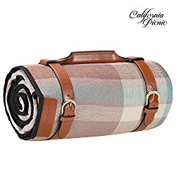 Picnic Blanket Extra LARGE LUXURIOUS Outdoor Blanket 87 Inch x 67 Inch with Waterproof Layer for Outdoor Picnics   Heavy Duty Acrylic Fibers   Stylish Faux Leather Handles Steel Straps   Sand proof
