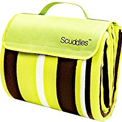 Scuddles Extra Large Picnic & Outdoor Blanket Dual Layers For Outdoor Water-Resistant Handy Mat Tote Spring Summer Blue and White Striped Great for the Beach,Camping on Grass Waterproof Sandproof