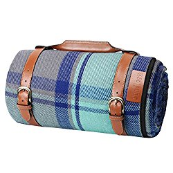 Sunflora Picnic Blanket Lawn Mat for Outdoor Camping 84″x 66″ Large Tartan Plaid Waterproof With Portable Faux Leather Handle For Women, Park and Beach