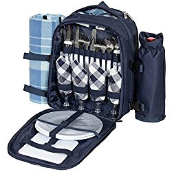 Best Choice Products 4-Person Insulated Picnic Bag Set w/Blanket, Flatware, Plates, Glasses – Blue