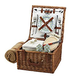 Picnic at Ascot Cheshire English-Style Willow Picnic Basket with Service for 2 and Blanket – Gazebo