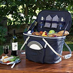 Picnic at Ascot Collapsible Insulated Picnic Basket Equipped with Service For 2 – Navy