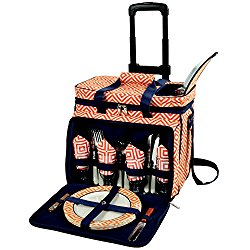 Picnic at Ascot Equipped Picnic Cooler with Service for 4 on Wheels – Orange/Navy