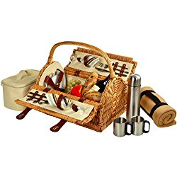 Picnic at Ascot Sussex Willow Picnic Basket with Service for 2,  Coffee Set and Blanket – Santa Cruz