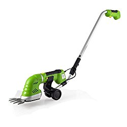 Upgraded 2018 Handheld Cordless Hedge, Push Grass Cutter Shears W/ 7.2V Rechargeable Batteries, Telescoping Roller Handle, Changeable Blades