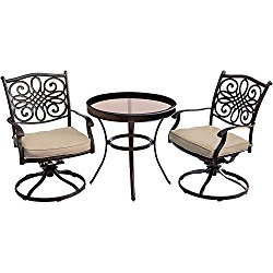 Hanover Traditions 3 Piece Swivel Bistro Set in Tan with 30″ Glass-top Table