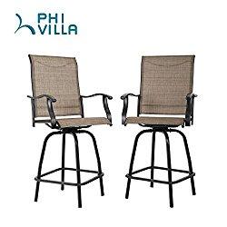 PHI VILLA Swivel Bar Stools All-Weather Patio Furniture, Set of 2
