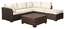 Ashley Furniture Signature Design – Loughran Outdoor Sectional Set – Loveseat Sectional, Ottoman & Cocktail Table – Beige & Brown