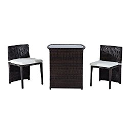 Outsunny 3 Piece Chair and Table Rattan Wicker Patio Nesting Furniture Set
