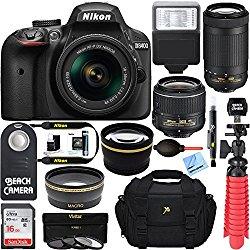 Nikon D3400 24.2MP DSLR Camera with AF-P 18-55 VR and 70-300m Lenses (1573B) – (Certified Refurbished) (18-55 VR and 70-300 2 Lens Deluxe Kit)