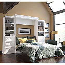 """Bestar Versatile 115"""" Queen Wall Bed with 2 Piece 6 Drawer Storage Unit in White"""
