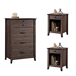 Home Square Rustic 3 Piece Bedroom Set with Chest and (Set of 2) Night Stand in Coffee Oak