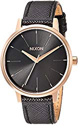 Nixon Women's 'Kensington' Quartz Metal and Leather Watch, Color Black (Model: A1081098-00)