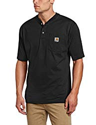 Carhartt Men's Big & Tall Workwear Pocket Short Sleeve Henley Original Fit K84,Black,XXX-Large