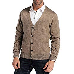 CHAUDER Men's Relax Fit V-Neck Cardigan Cashmere Wool Blend Button Down with Pockets