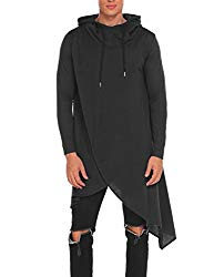 COOFANDY Mens Casual Hooded Poncho Cape Cloak Irregular Hem Hoodie Pullover Black Medium