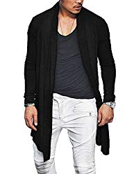 COOFANDY Men's Ruffle Shawl Collar Long Sleeves Cardigan (X-Large, Black)