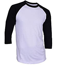 DREAM USA Men's Casual 3/4 Sleeve Baseball Tshirt Raglan Jersey Shirt White/Black XL