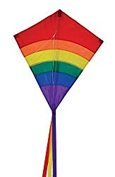 In the Breeze Rainbow 27 Inch Diamond Kite – Single Line – Ripstop Fabric – Includes Kite Line and Bag – Great Beginner Kite