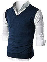 Ohoo Mens Slim Fit Casual V-Neck Knit Vest/DCV010-NAVY-2XL