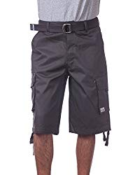 Pro Club Men's Cotton Twill Cargo Shorts with Belt, 36″, Charcoal