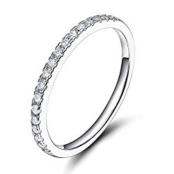 EAMTI 2mm 925 Sterling Silver Wedding Band Cubic Zirconia Half Eternity Stackable Engagement Ring
