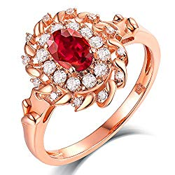 Hot Sell Jewelry 14kt Rose Gold Brilliant Diamonds 0.60ct Oval 4x6mm Red Ruby Rings For Women